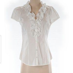Ann Taylor Loft button down ruffle neckline shirt